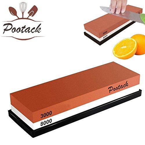 Pootack Doppelseitiger 2-IN-1 Wetzstein Natural Schleifstein Langlebig Abziehstein für Messer mit rutschfestem Silikonhalter (3000/8000) Test
