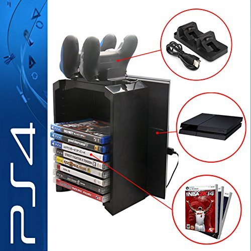 Likorlove PS4/PS4 Slim/PS4 Pro Multifunctional Detachable Holder Game Disk Storage Tower with Dual Dock Controller Charging Station and Console Stand Holder
