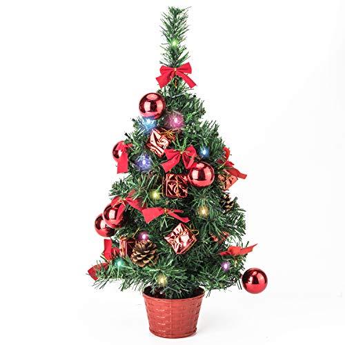 Amasava Mini Sapin De Noël Epicéa avec 60 LEDs et Décorations Rouges Ornements d'arbre De Noël Cadeau Cône De Sapin 55CM Rouge De Noël Décorations pour La Maison
