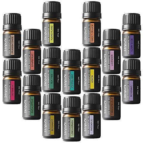 Zenpure Kit Aromathérapie Huiles Essentielles 16 Bouteilles/ 5mL Chaque 100%