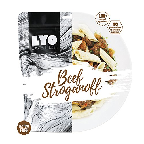 LYOFOOD Beef Stroganoff 500g | Gefriergetrocknetes Laktosefreies Essen 2 Go Camping Wandern Verpflegung Nahrung Fleisch Notfall Lebensmittel für Unterwegs Bundeswehr Haltbar