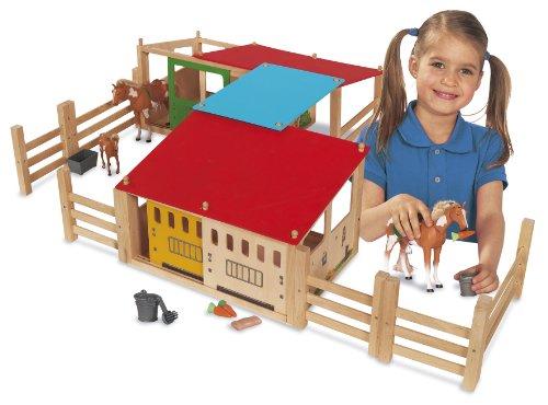 Imagen principal de Eichhorn 100002517 - Establo de madera para caballos de 29 piezas, 70 x 50 cm (Simba Dickie)