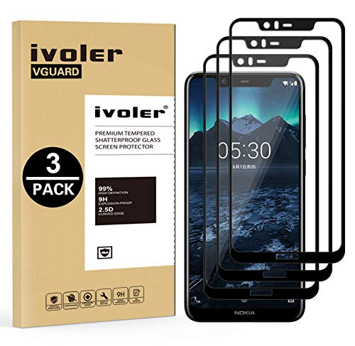 VGUARD [3 Stücke] Panzerglas Schutzfolie für Nokia 5.1 Plus, [Volle Bedeckung] Panzerglasfolie foliefolie Hartglas Gehärtetem Glas BildschirmPanzerglas für Nokia 5.1 Plus