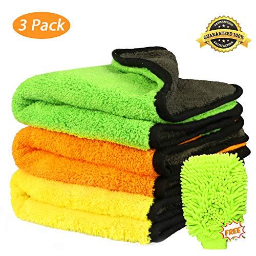 Fixget 3Pcs Microfaser Trocknen Handtuch waschen Reinigung Detaillierung Küche Reinigungstücher Wachs und Versiegelung Entfernung, perfekt für Auto waschen & Lackieren-43 * 38cm, 840 GSM