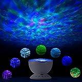 LED Nachtlicht Projektor - 7 Lichtmodi Rotierende Ozeanwelle mit eingebautem Mini Musik Player Schlaflicht, für Baby/Erwachsene Zimmer, Schlafzimmer, Wohnzimmer, Party Dekoration, A