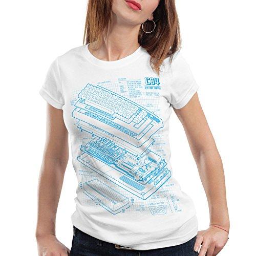style3 C64 Heimcomputer Blaupause Damen T-Shirt Classic Gamer, Farbe:Weiß;Größe:M