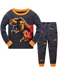 Pijamas para niños, Trajes para niños, Pijamas de Manga Larga de Dinosaurio de algodón
