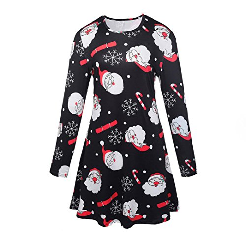 Xmas Print Swing Kleid, Bluestercool Damen Weihnachten Langarm flammte Party Kleider B