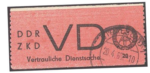 Goldhahn DDR Dienstmarke Nr. VD 1 A gestempelt in Bedarfsqualität- Briefmarken für Sammler
