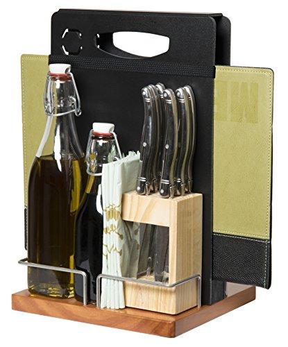 Securit Tischaufsteller Table Caddy, mit Kreidetafel, Holz, schwarz, 35 x 22.3 x 20.3 cm