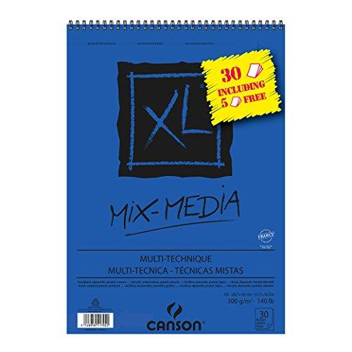 Canson–album xl mix media carta da disegno a329,7x 42cm 30fogli bianco 300g