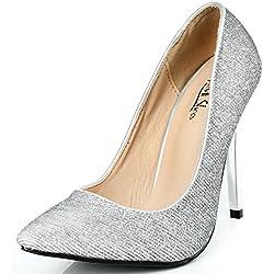 AgeeMi Shoes Damen Stilettos Paillette High Heels Schuhe für Party Spitze Pumps,EuD04 Silber 36