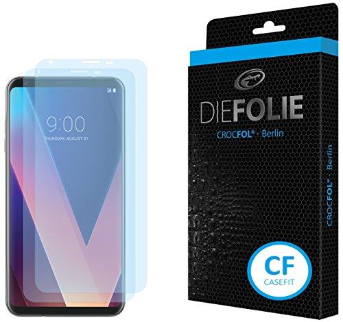Crocfol Displayschutz für LG V30: 2X DIEFOLIE Schutzfolie, 1x DASFLÜSSIGGLAS flüssiges Glas – Casefit Folie, Verwendung mit Schutzhülle