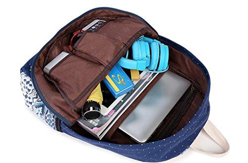 Mädchen Damen Canvas Schulrucksack Rucksack Teenager Schultasche Daypacks für Reise outdoor Universität Punkt Schwarz Khaki