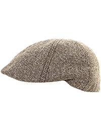 Mens Herringbone Tweed Country Flat Cap Hat Available in 4 Sizes
