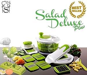 Salad Delux Plus Insalatiera Taglia Verdure visto in Tv Affettatutto / Centrifuga insalata Robot da cucina + Trita Aglio + TagliaUovo + Pela Patate in Ceramica made by stone&stone