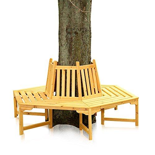 Melko 360 Grad Baumbank Gartenbank Rundbank, aus Holz, Durchmesser 180 cm, Höhe 90 cm