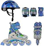 Inlineskates Set Torny ABEC 5 Größen verstellbar inkl. Schoner und Helm blau/grau/grün Gr. 26-37