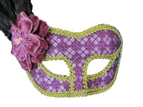 Damen Unisex lila & volle ball Flamboyant Gold mit Federn venezianischem Augenmaske für Kostümparty Kostüm eye Facemask - von (Augenmaske Kostüme Feder)