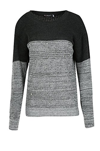 Be Jealous - Pull - Manches Longues - Femme * taille unique Black/Grey Marl
