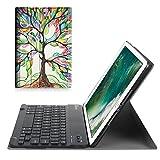 Fintie Bluetooth Tastatur Hülle für iPad 9.7 Zoll 2018 2017 / iPad Air 2 / iPad Air - Ultradünn leicht Ständer Keyboard Case mit magnetisch Abnehmbarer Drahtloser Deutscher Tastatur, Liebesbaum