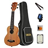 UBETA US-041 Soprano Ukulele Acajou Aquila Strings Débutant 5 in Kit: Gig bag, clip-on Tuner, Picks. Cordes accessoires Aquilia, sangles - couleur naturelle
