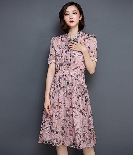 Smile YKK Femme Robe Evasée Mousseline de soie Slim Impeimé Floral Rose