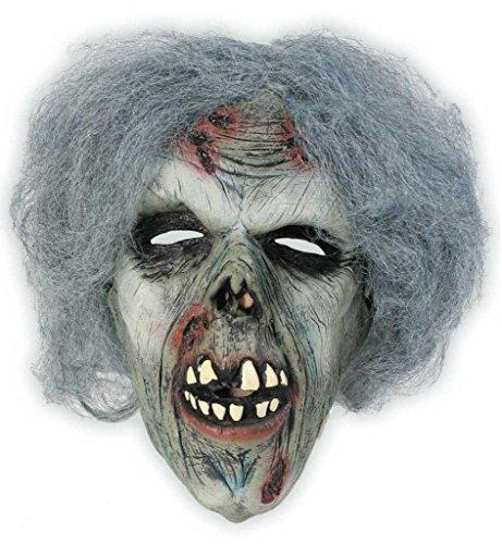 Zombie mit Haaren, 3/4 Maske, Universalgröße, Unisex, für Erwachsene, Latexmaske, Unterwelt, Gruselmaske, Kostümzubehör, Gruselparty, Themenabend, Horrormaske, Gesichtsmaske, Narben, (Gras Kostüme Für Mardi Männer Ideen)