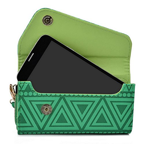 Kroo Tribal Urban Style Housse cas Wall Let Embrayage S'adapte Sony Xperia E4 White with Mint Blue vert
