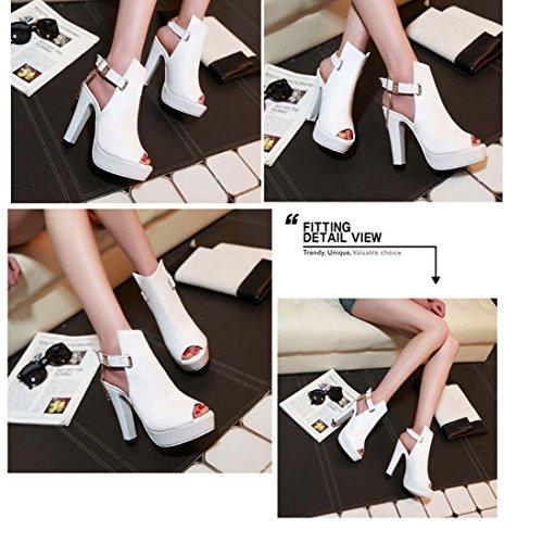 Chaîne À Cheville Short Boot Peep Toe Plate-forme Chaîne En Métal Chaîne Chaussures À Talons Casual White