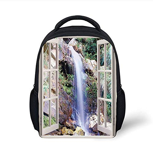 Kids School Backpack House Decor,Open Window Sees A Small Water Cascade Flowing Down Hills Recreational Picture,Brown Green Plain Bookbag Travel Daypack - Open-house-systeme