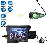 ENNIO cámara de pesca submarina (HD 1000TVL, 4.3' LCD Monitor, 15M Bajo el Agua, 6 IR LED, Localizador Peces, IP68, con Parasol, Flotador) para Pesca