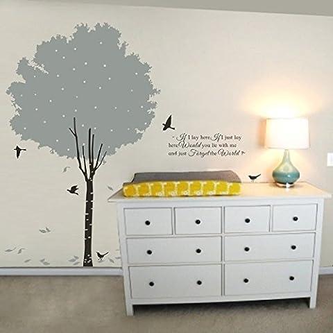 Romántica temporada pared pegatinas pared adhesivo de pared decorativo para pared para pared pájaros–Vinilos decorativos Pájaros Tatoo adhesivo Árbol para pared, vinilo, B, 80