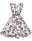 Ärmellos rockabilly kleid retro sommerkleid a linie kleid tanzkleid gebluemten kleid Größe M CL6086-22