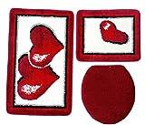 Badgarnitur 3-teilig rot weiß, Motiv Herz, Badteppich mit WC-Vorleger für Hänge-WC, 80 x 50cm (große Matte), 50x40cm (kleine Matte)