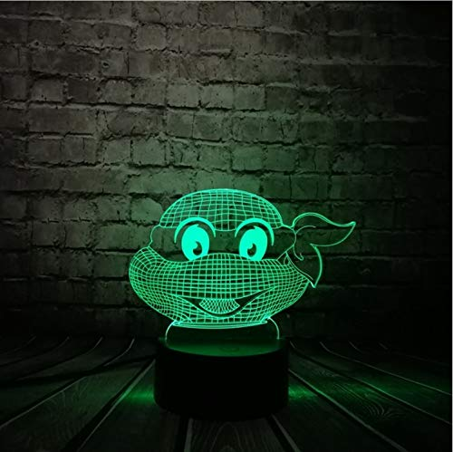 Teenage Mutant Ninja Turtles Figura Atmósfera Moderna 3D Led Lámpara Visual Luz De Noche Dormitorio Rana Tortugas Fiesta Decorativa