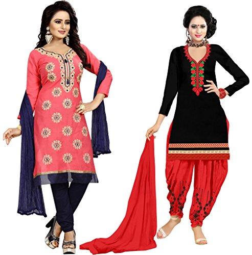Vetrokart Women\'s Cotton Suit Piece Dress Material (Patiala__sudidar Free Size combo Pack of 2)
