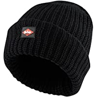 Lee Cooper Workwear LCHAT624 Mens Knitted Fleece Lined Work Safety Beanie Hat, Black, One Size