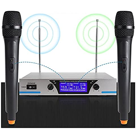 EXMAX® VHF 2 x Handheld Dynamic Pro Wireless Karaoke Microphone System LCD Display with Transmitter Receiver for Live Sound Stage