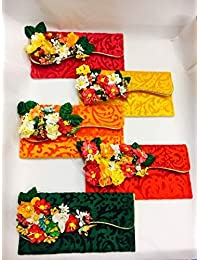 Satyam Kraft Designer Envelope with flowers 1 PIECE(RANDOM COLOUR) for marriages,shagan and gifts