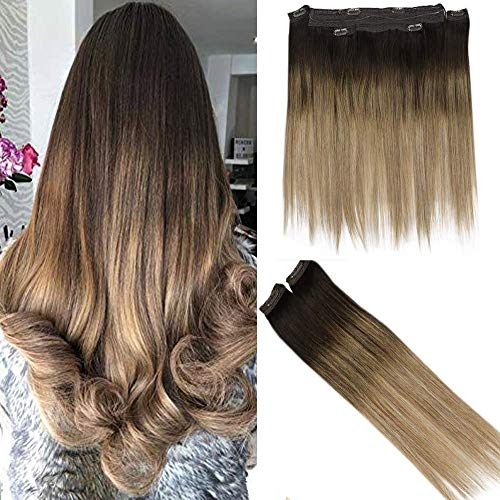 Easyouth Halo Clip Hair Color 2 Darkest Brown Fading to Color 6 with Color 18 Ash Blonde 14 Zoll 2 Piece 30g Lace Clip On Haar With 1 Piece 70g Halo Piece Natural Human Hair Extension. (Halo Haar)