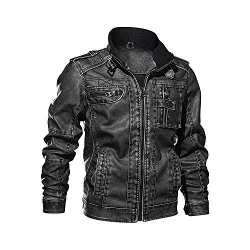 r Jacke Lederjacken aus Kunstleder Vintage Slim Fit,Männer Winterjacke Bikerjacke Übergangsjacke ()