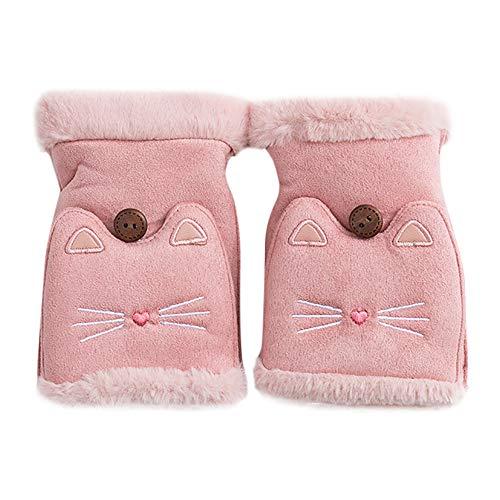 Handschuhe Fingerlose Fäustlinge Damen Winter Warme Mädchen Gloves mit Niedlich Katze Flip Top XXYsm Rosa