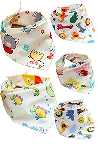 Jiexi® 5pcs 100%Cotton 32*43cm Cartoon Lovely Smart Baby Toddler Bandana Bib Kit with Adjustable Straps Dribble Bibs For Boys&Girls Baby