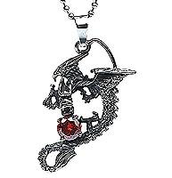 Epinki Stainless Steel Pendant Necklace, Mens Vintage Punk Rock Silver Black Wings Dragon Necklace