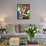 Raybre Art® 20 x 24 pulgadas 100 % Pure Pintados a Mano Lienzo Pintura al óleo - Cuadro Moderno Abstracto Colores Impacto Visual Mayor para Hogar Arte Pared Decoración, sin Bastidor (Beso)