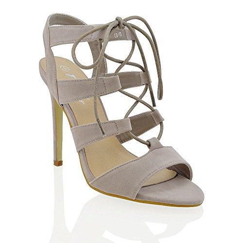 ESSEX GLAM Damen mit schnallen stiletto absatz ausgeschnitten sandalen Grau
