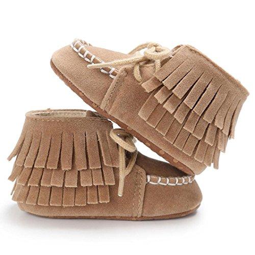 BZLine® Baby Quaste Soft Sole shoes Boys Girls Anti-Slip Kleinkind Krippe Sneakers Braun