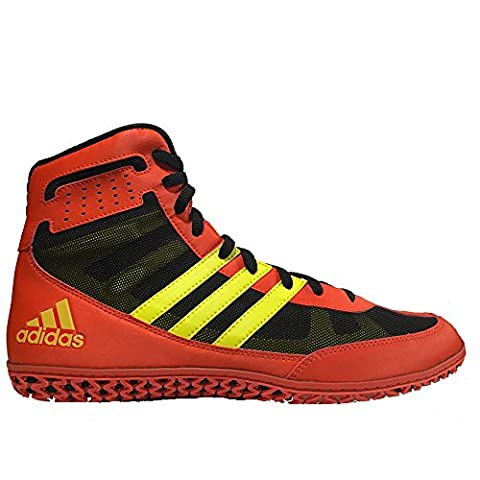 Adidas Mat Wizard 3 Shoes Men's Senior Wrestling Boots Scarlet Coll Navy (10 UK, Red/Yellow)
