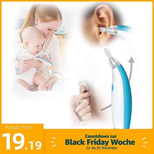Ohrenschmalz Entferner,Portable Elektrische Ohrreiniger,Ear Wax Cleaner Kit,Ohrwachs Entfernungs tool kit mit 3 Soft Silicone Kopfs & 1 Massagekopf, LED-Licht, für Babys und Erwachsene (blau)